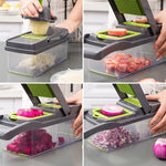 Multifunctional vegetable dicer shredder and grater with anti spill and storage container