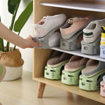 Folding adjustable stacking shoe rack for simple closet or shelf shoe storage