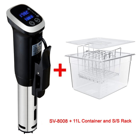 2nd generation vacuum sous vide cooker with digital LED display plus container and rack bundle