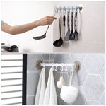 Adjustable 6 hooks strong adhesive towel hanger rack