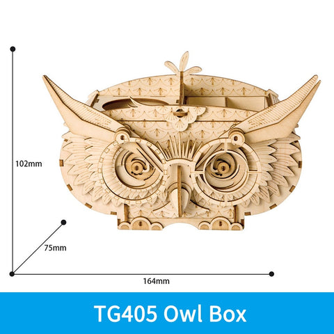 3D laser cut owl box desk organizer DIY assembly wooden puzzle kit