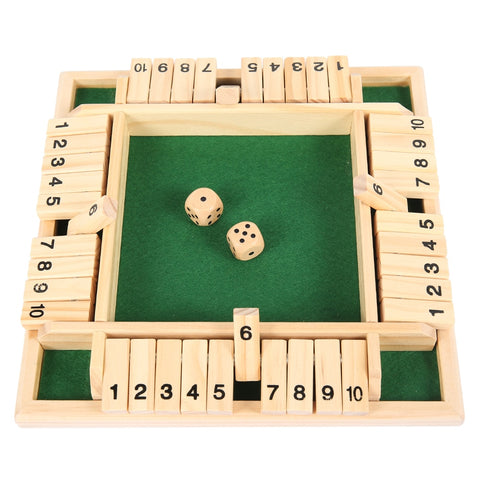 Four-sided 10 number shut the box wooden blitz board game deluxe set with dice