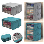 Folding stackable storage box with handle and large clear window on the side