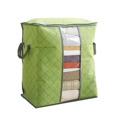Foldable portable nylon storage bag with a clear window for clothes blankets quilts or pillows