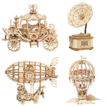 3D laser cut vintage hot air balloon DIY assembly wooden puzzle kit