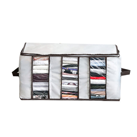 Soft foldable closet storage chest with clear windows on the front