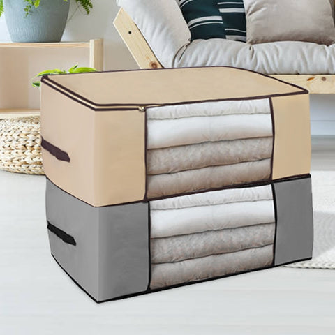 Collapsable nylon storage box with large clear window for clothes blankets quilts or pillows