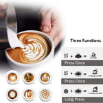 3 function electric milk frother with high foam density for your latte cappuccino or hot chocolate