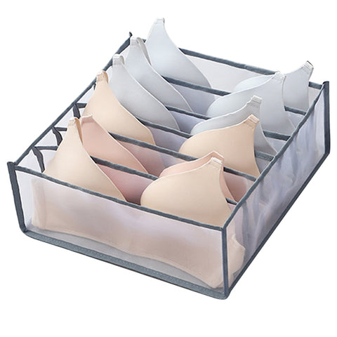 6 section mesh nylon full cup or sports bra underwear wardrobe drawer organizer