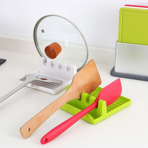 Compact cooking tools hangable spoon and utensil rest and pot lid holder