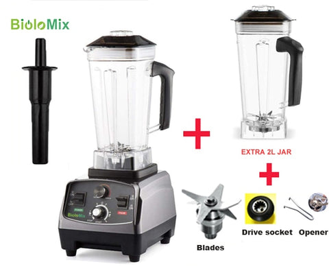 3HP 2200W heavy-duty commercial grade blender with automatic timer and BPA free 2L jar plus extra jar and spare parts bundle