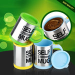 Electric self stirring mug promo display with show of stirring fluid and cap.