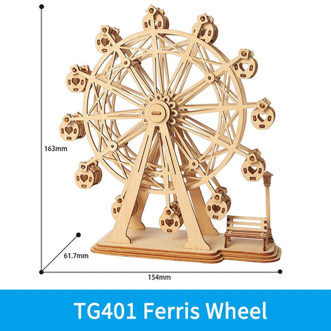 3D laser cut Ferris wheel DIY assembly wooden puzzle kit