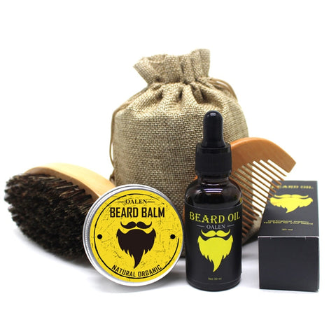 Men's beard balm kit with beard oil and moustache comb cream brush storage bag