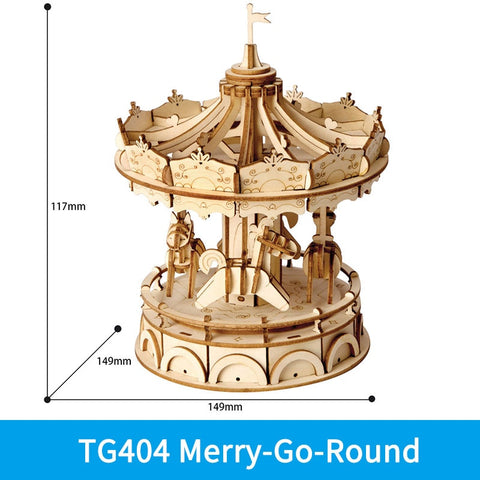 3D laser cut merry go round DIY assembly wooden puzzle kit