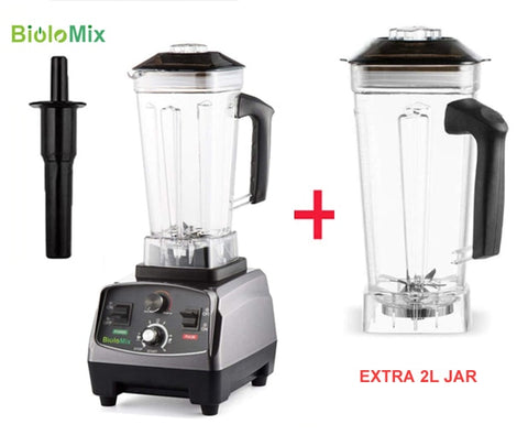 3HP 2200W heavy-duty commercial grade blender with automatic timer and BPA free 2L jar plus extra jar bundle