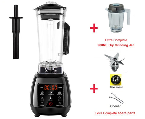 3HP professional blender with digital touch pad and BPA free 2 liter pitcher jar plus spare bland and dry grinder jar