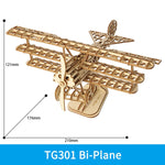 3D laser cut bi-plane DIY assembly wooden puzzle kit