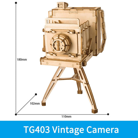 3D laser cut vintage camera DIY assembly wooden puzzle kit