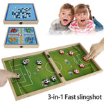 Foldable 3 in 1 tabletop slingshot finger catapult hockey puck soccer and interactive kids games