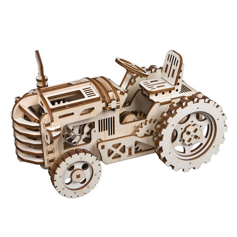 3D laser cut farm tractor DIY assembly wooden puzzle kit
