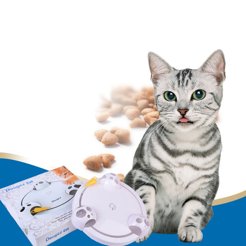 Interactive 360 degree electronic rotation artificial mouse cat and kitten toy