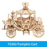 3D laser cut pumpkin carriage DIY assembly wooden puzzle kit