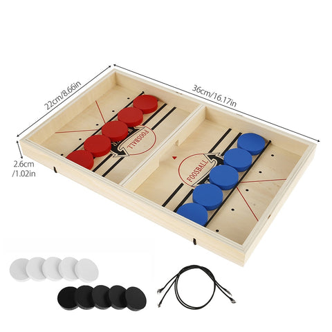 Upgraded tabletop 2 player finger catapult slingshot hockey puck game with multi-colored pucks