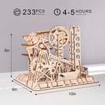 3D laser cut action wooden waterwheel coaster maze runner puzzle DIY kit