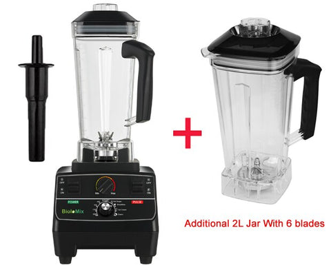 2200 watt professional pre-programmed smart timer blender with manual rotary selection controls plus extra jar