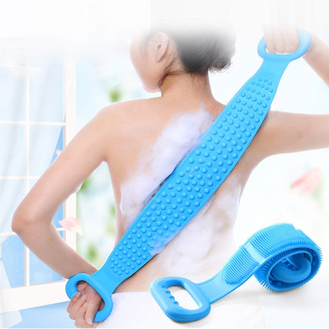 Silicone bath and shower back scrubber and rubbing massager skincare brush