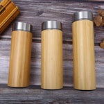 Bamboo and stainless steel double insulated ceramic liner thermo water bottle mug