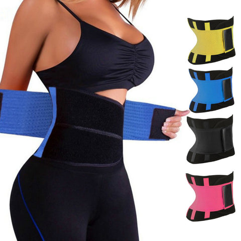 Hot neoprene waist sweat trainer on woman and color options.