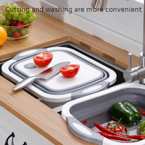 Folding multi-functional sink and cutting board portable vegetable sink folds flat