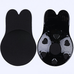 Black color front and back of breathable bio-silicone breast lifting stickers.