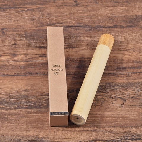 Natural eco-friendly bamboo travel case for toothbrush 8.3 inch tube