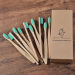 Mint green bamboo toothbrush 10 pack out of box.