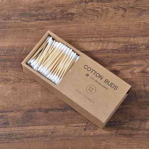 Plastic-free double head bamboo cotton swabs - 200 pack
