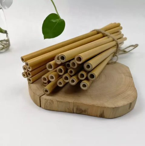 Reusable all natural bamboo drink straws and cleaner - 10 pack