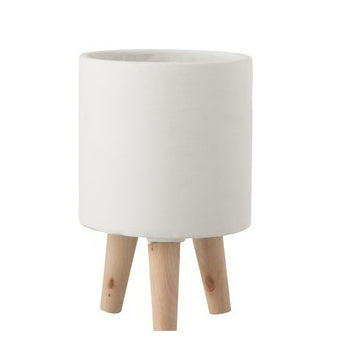 White Cement Tripod Pot