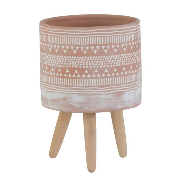 Terracotta and White Tripod Pot