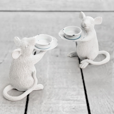 White Mouse Candle Holder