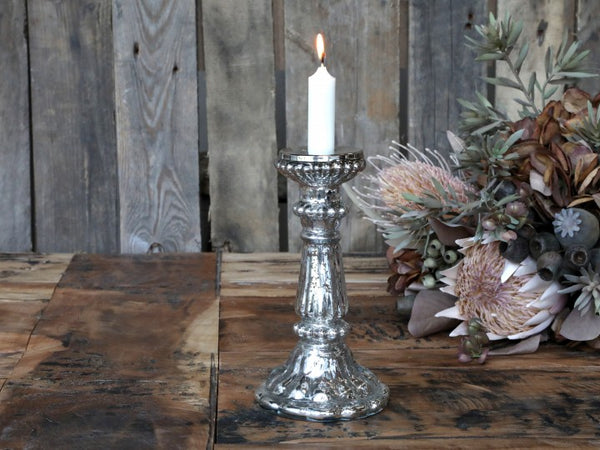 Silver Antique Glass Candlestick Pearl Edge