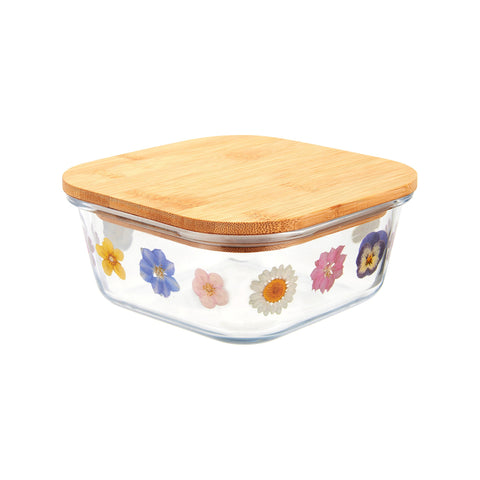Small Glass Pressed Flowers Sealed Sandwich Box