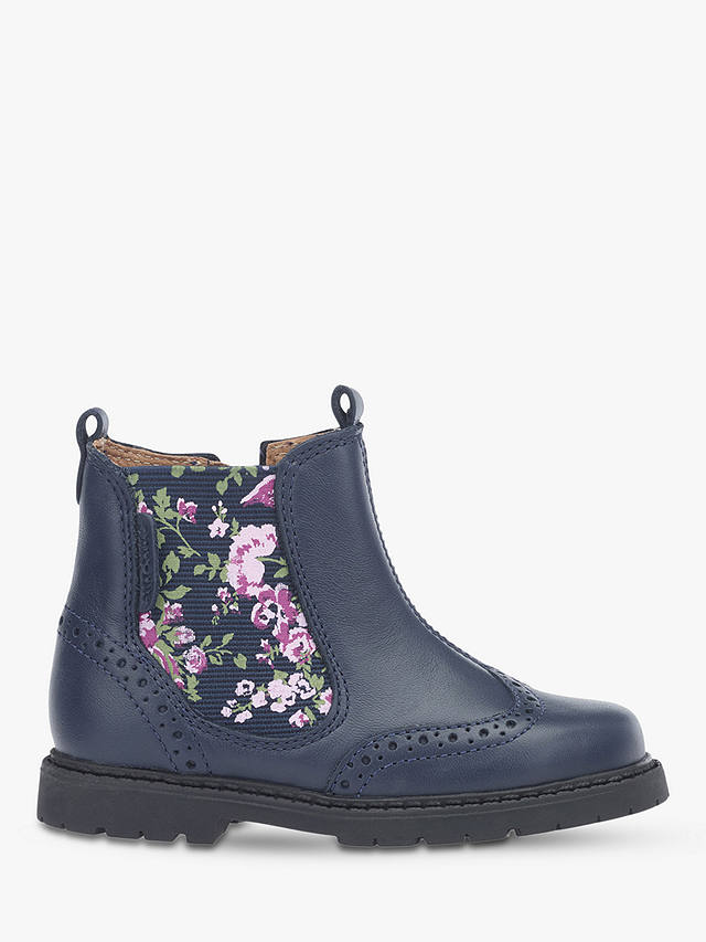 Start-Rite Navy Leather Floral Chelsea Boots