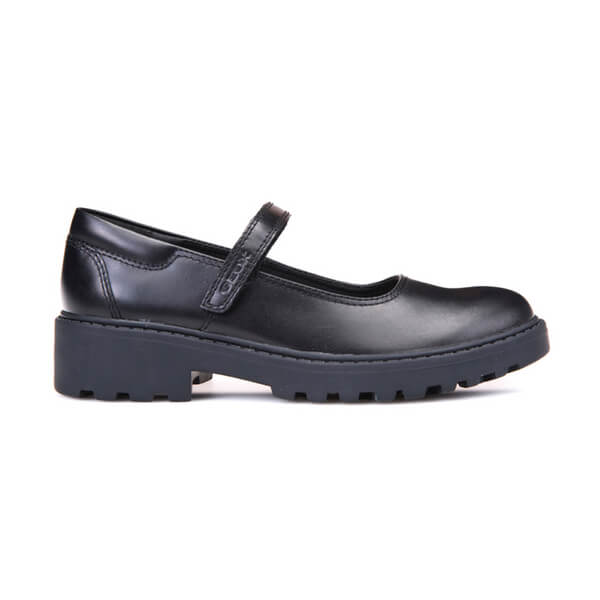 Geox Casey Black Velcro School Shoes