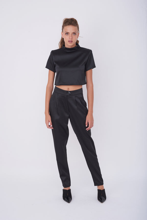 IVIG CROP TOP – Shiny Black