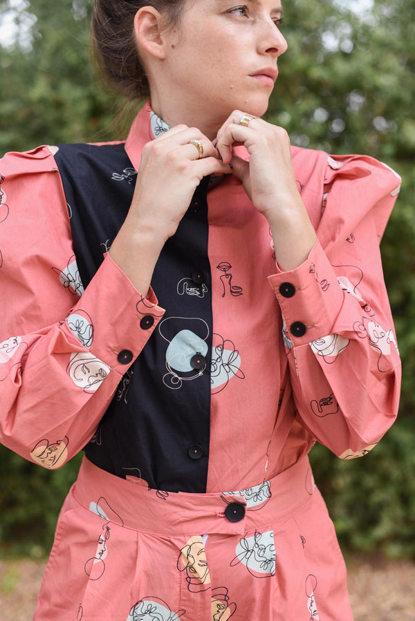 MYELIN BLOUSE - Pink Faces