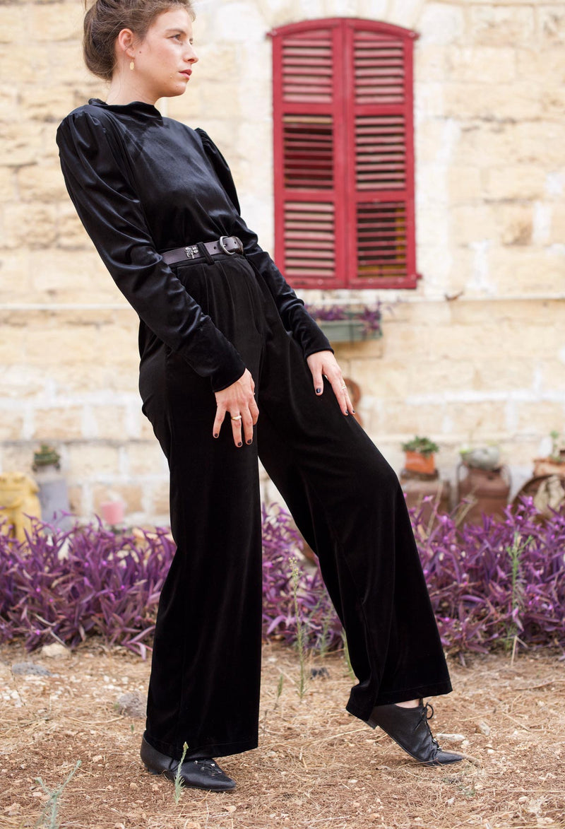 WIDE BARRE PANTS - Black Velvet