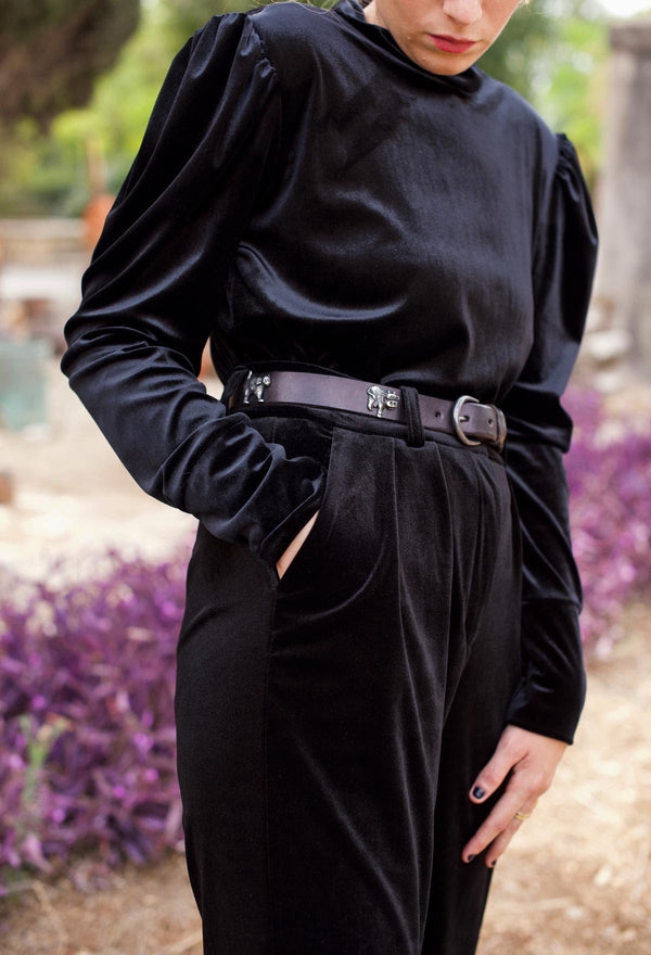 BLACK VELVET WIDE BARRE PANTS